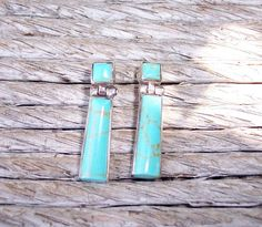 Silver Turquoise Earrings Mexico 950. $24.95, via Etsy.