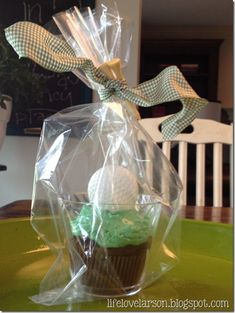 golf cupcakes - love them in the plastic cup so they can be packaged to take home