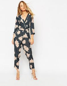 055f06102a ASOS Floral Printed Piped Wrap Jumpsuit at asos.com