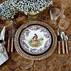 From the pages of @Southern Living - Get the Look!   While the Woodland Pheasant pattern by Spode is relatively new, the border of British flowers dates to 1828.