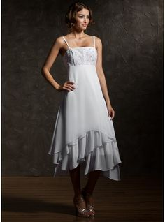 Empire Asymmetrical Chiffon Wedding Dress With Lace Cascading Ruffles