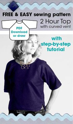 FREE and easy sewing pattern for women's top with step-by-step tutorial. Make in only 2 hours!
