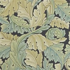 Acanthus Floral Wallpaper from William Morris Archive Wallpapers 2 Collection. A large design floral wallpaper on charcoal with vigorous curves of scrolling foliage of beige, sage and duck egg blue. Feature Wallpaper, Green Wallpaper, Fabric Wallpaper, Wallpaper Roll, Wallpaper Jungle, Chinese Wallpaper, Bedroom Wallpaper, Flower Wallpaper, William Morris Wallpaper