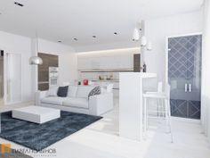 Интерьер гостиной зоны в белых тонах - квартира в ЖК «Красногорская Ривьера»