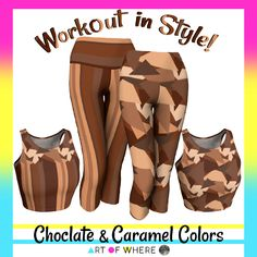 Brown Chocolate Caramel Pattern and Stripes Athletic Wear by #Gravityx9 at #ArtofWhere ~ Workout in comfort and style!   This design is also available on fashion, bags, scarves, home decor and more! ~~~~~~~~~   #exercisefashion #Athleticwear  #ActiveWear #leggings #workout #yogapants #Yogawear  #womenswear #groovy #yogaleggings    #printondemand #fashion #exercise  #exercisewear