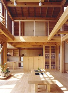 """Living there is a large space of the room mountain hut-style """"Hiba Forest"""" blow-up to the attic"""