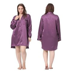 Nightshirts for Women 100% Silk Nightgown Plus Size 22 Momme Classic Sexy Night Shirt With Buttons Luxury Bride Large