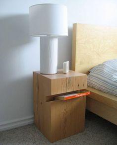 diy table de chevet en bois. chambre épurée  meuble en bois table de chevet origanale lampe à poser blanche
