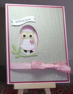 handmade greeting card ... two step owl punch dressed in plink ... white background with woodgrain embossing ... Stampin' Up!