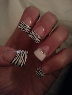"""Flare tip zebra with rhinestones. I don't personally like """"flare tips"""" but I really like the design of this. :) #beauty #nails"""