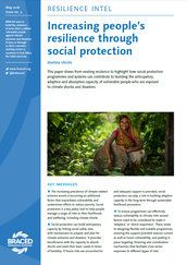 Increasing people's resilience through social protection. This paper draws from existing evidence to highlight how social protection programmes and systems can contribute to building the anticipatory, adaptive and absorptive capacity of vulnerable people who are exposed to climate shocks and disasters.