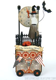 Stamptramp: The Witching Hour Artist Trading Block. Created with @eileen_hull's 3D Block die from @Sizzix, plus dies and embellishments from Tim Holtz and My Mind's Eye, and glitter from Elizabeth Craft Designs.