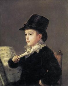 Portrait of Mariano Goya-the artist's grandson - by Francisco Goya 1812-14  Goya was especially fond of his only grandson, Mariano, who was born on 11 July 1806. He painted his portrait on several occasions.  It was to Mariano that Goya gave the Quinta del Sordo, the house containing the Black Paintings.The painting is signed on the back of the panel: 'Goya, a su nieto' (Goya, to his grandson).