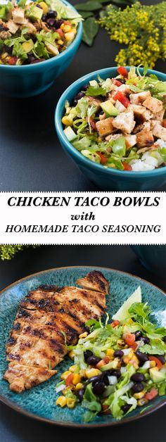 chicken-taco-bowls-homemade-taco-seasoning. Easy Mexican recipe, delicious marinated chicken with cumin, paprika, oregano, garlic, onion and other flavorful spices. Affordable dinner and lunch recipe.