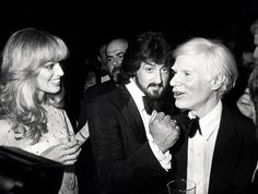 Susan Anton, Sylvester Stallone & Andy Warhol at Studio 54 ~ Photo by Ron Galella Bianca Jagger, Mick Jagger, Dean Martin, James Dean, Sylvester Stallone, Film Blue, Marcello Mastroianni, Liza Minnelli, Tony Curtis
