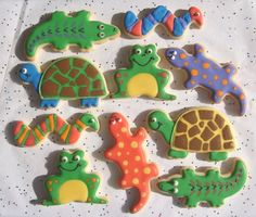 REPTILE COOKIE FAVORS Reptile Decorated Cookies by lorisplace, $34.99 Frogs aren't reptiles, but the cookies are still cute.