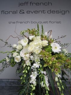 Funeral arrangement by Jeff French Floral and Event Design Church Flowers, Funeral Flowers, Casket Flowers, Funeral Caskets, Funeral Floral Arrangements, Memorial Flowers, Memorial Plants, Casket Sprays, Cemetery Flowers