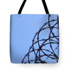 Barbed Wire and Blue Sky Tote Bag  http://fineartamerica.com/products/barbed-wire-and-blue-sky-sarah-lo..  #totebags #sarahloft #photography #abstractphotography #minimalism