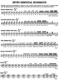 Drum rudiments are your foundation as a drummer, they will help you develop technique and finesse. This video will teach you seven essential drum rudiments. Drum Lessons, Music Lessons, Guitar Lessons, Guitar Tips, Drum Sheet Music, Drums Sheet, Drum Rudiments, Drum Notes, Learn Drums
