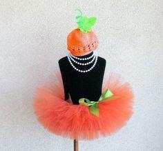 Baby Tutu Set - Pumpkin Costume - Orange Infant Tutu and Beanie Set - Sewn 6 Infant or Toddler Tutu and Beanie Hat - newborn to 24 months via Etsy
