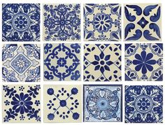 Blue & white, mixed styles, 4x4 Mexican/Spanish Decorative Ceramic Talavera Tiles. These are beautiful & truly the perfect decorative accent. **