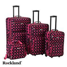 Designer Pink Polka Dot 3-Piece Expandable Lightweight Hardside ...