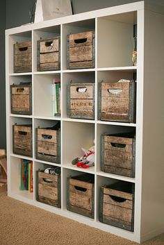 vintage crates in an IKEA Expedit bookshelf