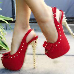 Red Peep Toe Sling Back Heels