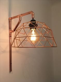Handmade cooper pipe wall lamp by Yano.