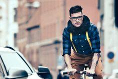 Hipster on bike