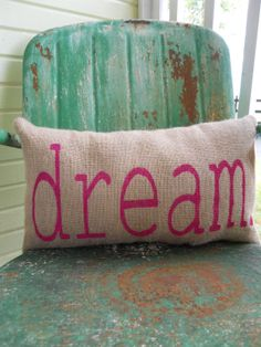 Burlap DREAM Throw Accent Pillow Custom Colors by TakeFlyteFarm, $22.00
