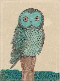 owl in blue monotone - fine art print - a Sweet William illustration on archival paper.