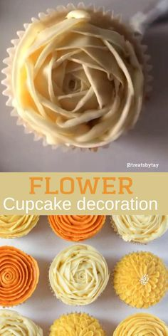 Use piping tips for beautiful cupcake flower decoration Cupcake Decoration, Cupcake Decorating Tips, Cake Decorating Frosting, Cake Decorating Techniques, Cookie Decorating, Flower Decoration, Decorations, Cupcake Frosting Tips, Frosting Recipes