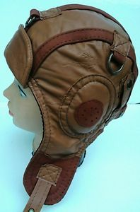 WWII Vintage style Leather Pilot,Aviator ,Motorcycle Helmet Hat ...