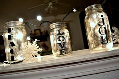 Antiqued Mason Jar-  I have one in a wine bottle, and it is covered with a piece of fabric and just looks fantastic , a little softer and wintery.