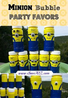 "You're on in a ""minion"" Happy Valentines Day!  Minion Bubble Party Favors (DIY)!! So cute and easy to put together!"