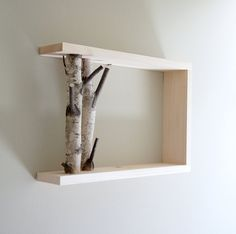 white birch forest - natural white birch wood wall art/shelf. $40.00, via Etsy.