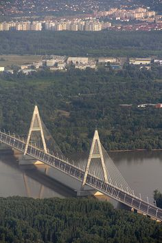 The megyeri bridge - from above, Budapest, Hungary