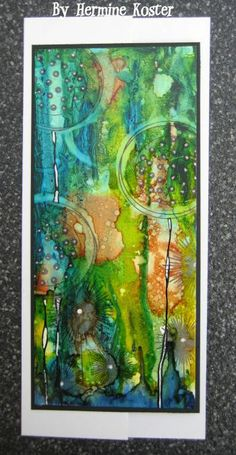 Hermaine Koster - played around with alcohol inks on Yupo paper, in my previous post I used the Yupo already with distress refill because I am almost out of alcohol inks, I still had a few colours left but they are a bit dark, awesome to do, so the alcohol inks go on my wish list again