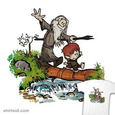 """Halfling and Wizard"" by Cool Johnny aka Juanito Legal (Mr. von Dunham)  Gandalf and Bilbo in the style of Calvin and Hobbes"