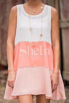 White Pink Sleeveless Color Block Dress-SheIn