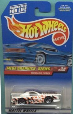Mattel Hot Wheels 1999 1:64 Scale Mega Graphics Series White & Black Ford Mustang Cobra Die Cast Car 2/4 by Mattel. $3.94. Mattel Hot Wheels 1999 1:64 Scale Mega Graphics Series White & Black Ford Mustang Cobra Die Cast Car 2/4