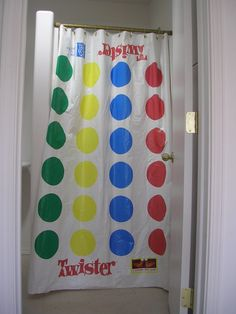 Recycled Twister Mat Shower Curtain.