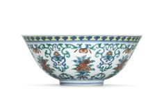 A fine doucai floral bowl, Daoguang six-character seal mark in underglaze blue and of the period (1821-1850)