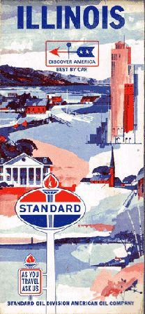 Vintage Gas Station Standard Illinois State Map 1966 - $25.00 : Vintage Collectibles Sewing Patterns Postcards Aprons Ephemera