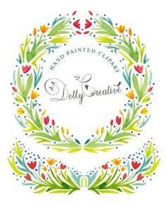 Clip Art hand painted, watercolor, frame and floral festoon, 2 png files. no background, high resolution - 300 dpi