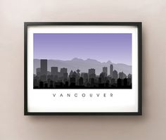 Vancouver BC City Skyline Art by CartoCreative