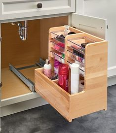 Conveniently store items while maximizing your under sink vanity space with Rev-A-Shelf's 441 L-shaped organizers. Designed for vanity sink base cabinets and made of hardwood with a finish, this… Diy Kitchen Storage, Storage Cabinets, Bathroom Storage, Kitchen Organization, Small Bathroom, Kitchen Decor, Kitchen Ideas, Base Cabinets, Kitchen Cabinets