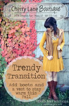 A Trendy Transition from fall to winter: Cherry Lane Boutique