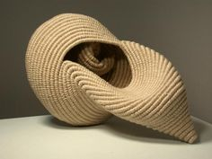 Ellen Dickinson | 'Triton. Basketry stitch. Unbleached linen and poly cord.